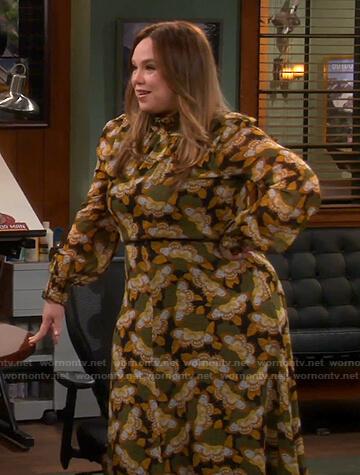 Kristin's butterfly print dress on Last Man Standing