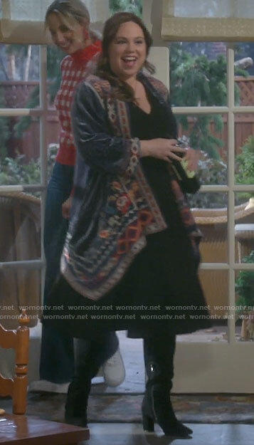 Kristin's embroidered velvet kimono jacket on Last Man Standing