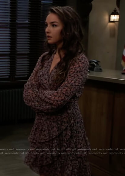 Kristina's blue floral wrap dress on General Hospital