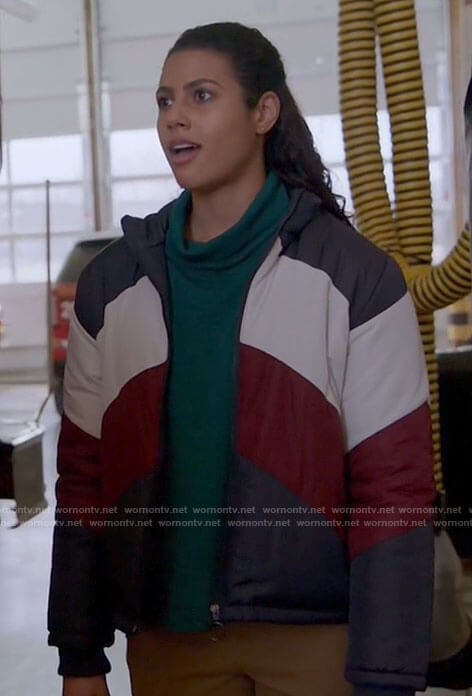 Kylie's colorblock puffer jacket on Chicago Fire