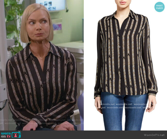 Nina Printed Button-Down Silk Blouse by L'Agence worn by Jill Kendall (Jaime Pressly) on Mom