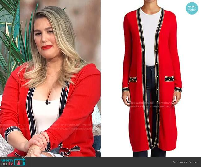 Tinsley Trim Longline Cardigan by L'Agence worn by Carissa Loethen Culiner  on E! News