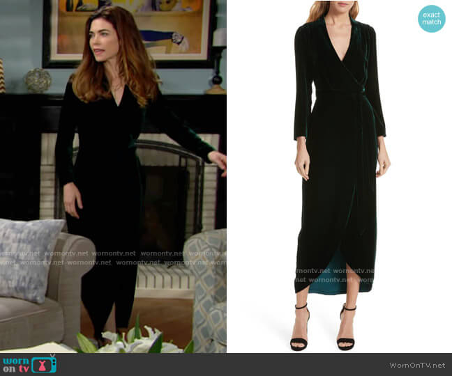 L'Agence Reliah Velvet Wrap Dress worn by Victoria Newman (Amelia Heinle) on The Young & the Restless