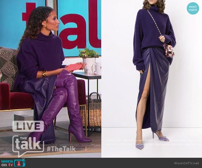 Turtleneck Sweater and Leather Skirt by Lapointe worn by Elaine Welteroth  on The Talk