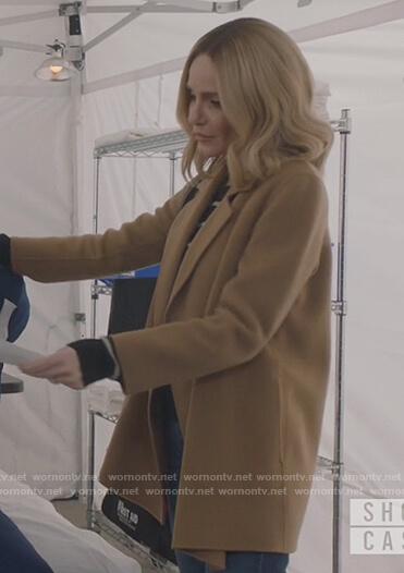 Laura's beige wrap coat on All American