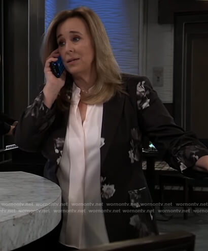 Laura's black floral print blazer on General Hospital