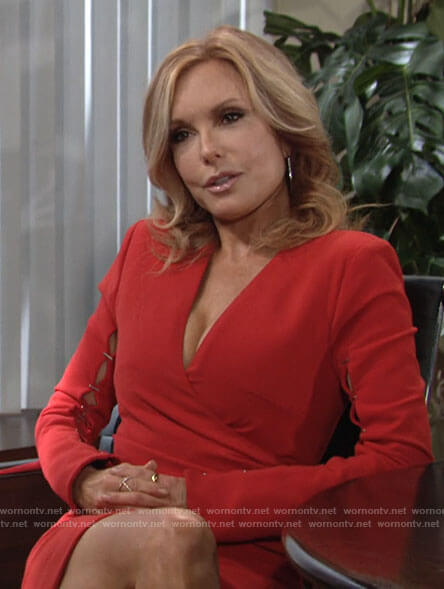 Lauren's red stapled sleeve dress on The Young and the Restless