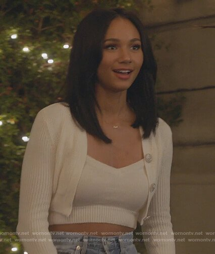 Layla's white cropped cardigan on All American