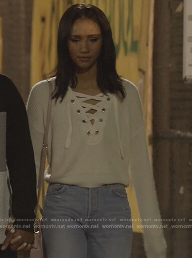Layla's white lace-up sweater on All American