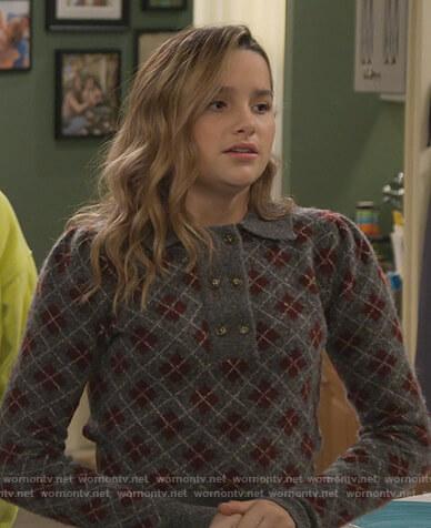 Lex's gray argyle print sweater on Side Hustle