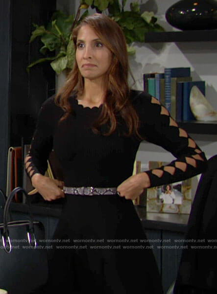 Lily's black scalloped trim dress with cutout sleeves on The Young and the Restless