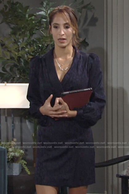 Lily's navy leopard wrap dress on The Young and the Restless