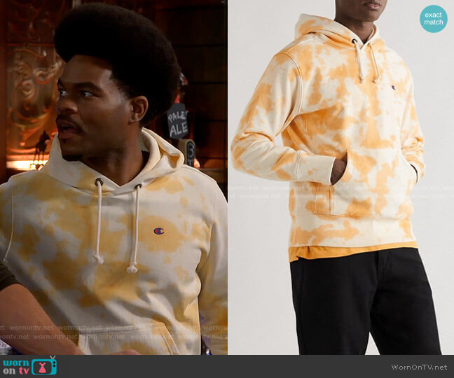 Logo-Embroidered Tie-dyed Hoodie in Orange by Champion worn by Carter (Julian Gant) on Call Me Kat