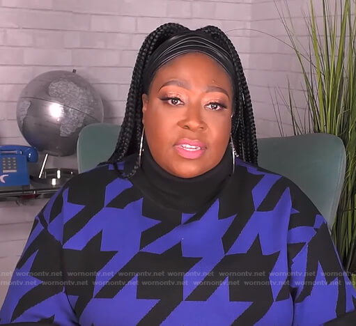 Loni's blue and black houndstooth sweater on The Real