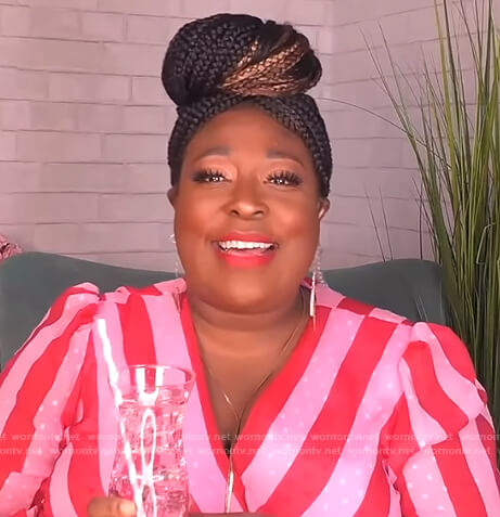 Loni's pink and red stripe wrap dress on The Real