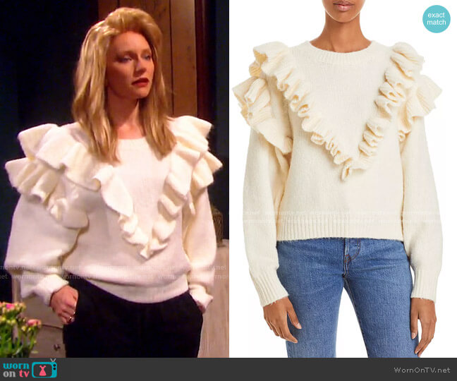 Versace In Mind Ruffled Sweater by Lost and Wander worn by Jennifer Horton (Marci Miller) on Days of our Lives