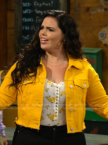 Lou's floral top and yellow denim jacket on Bunkd