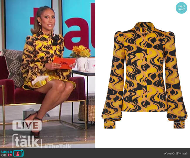 Printed Long Sleeve Top by Louis Vuitton worn by Elaine Welteroth  on The Talk