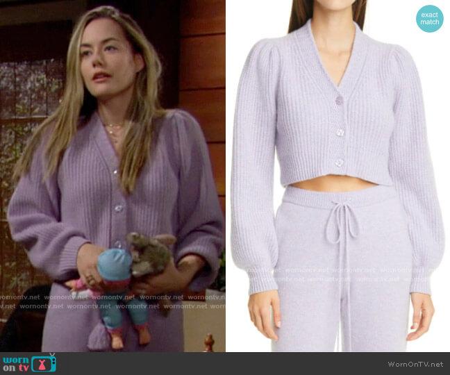 LoveShackFancy Avignon Cardigan worn by Hope Logan (Annika Noelle) on The Bold & the Beautiful