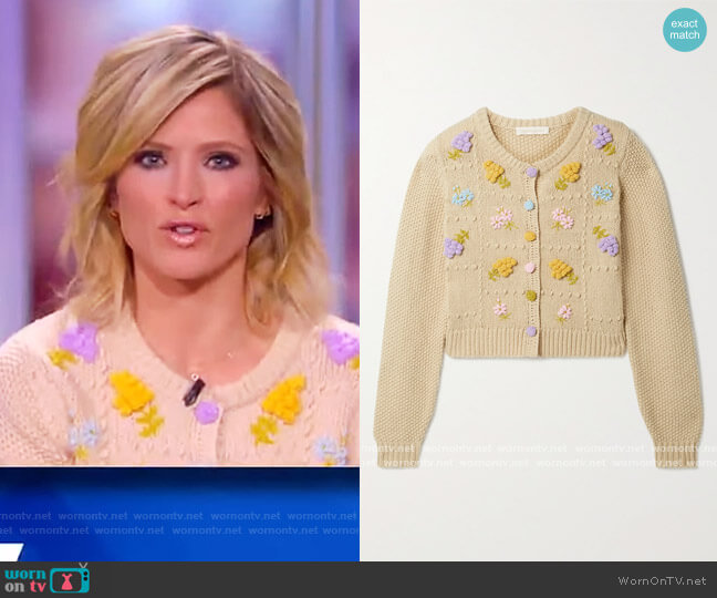 Briallon embroidered knitted cardigan by Love Shack Fancy worn by Sara Haines  on The View