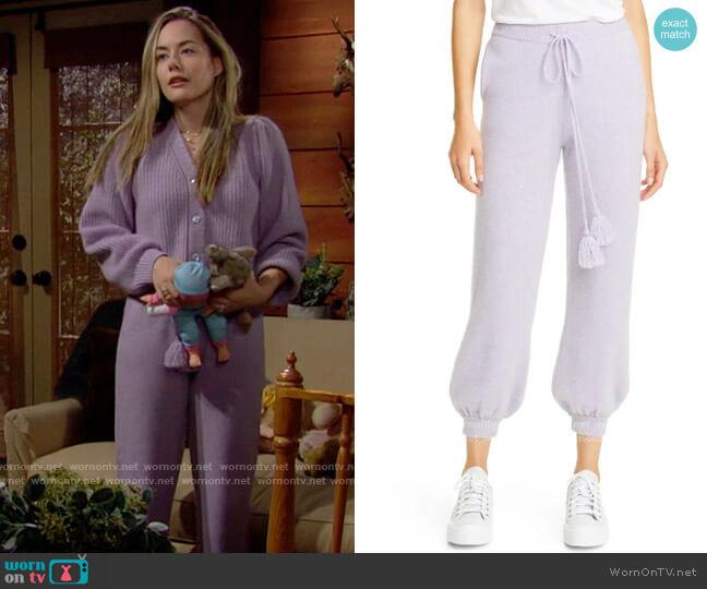 LoveShackFancy Tristan Pants worn by Hope Logan (Annika Noelle) on The Bold & the Beautiful