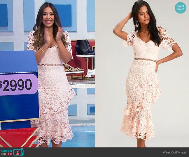 Lulus Briarwood Blush Pink Lace Ruffled Midi Dress worn by Manuela Arbeláez  on The Price is Right
