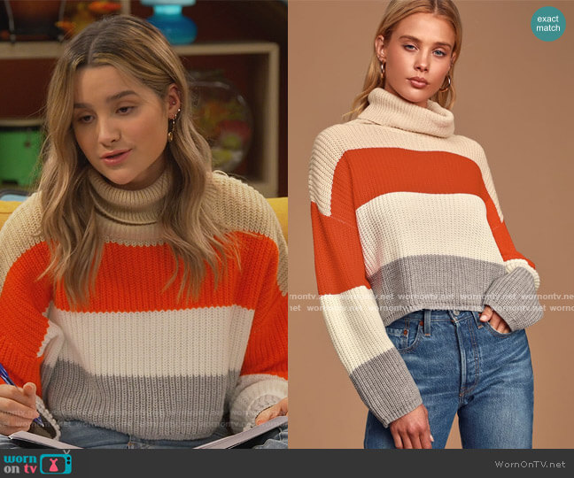 Stepping It Up Cream Multi Color Block Knit Turtleneck Sweater by Lulus worn by Lex (Jules LeBlanc) on Side Hustle