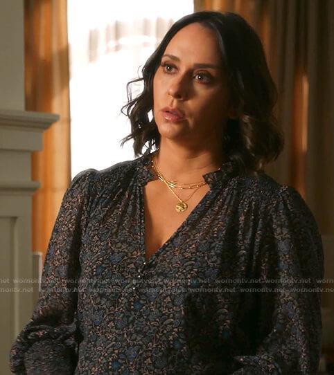 Maddie's black floral smocked blouse on 9-1-1