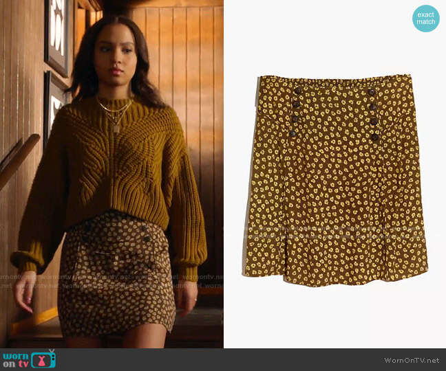 Piped Mini Skirt in Woodcut Flowers by Madewell worn by May Grant (Corinne Massiah) on 9-1-1