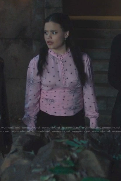 Maggie's pink sun and stars print top on Charmed