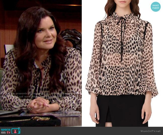 Maje Lip Leopard Print Tie Neck Top worn by Katie Logan (Heather Tom) on The Bold & the Beautiful