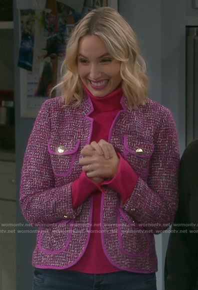 Mandy's pink tweed jacket on Last Man Standing