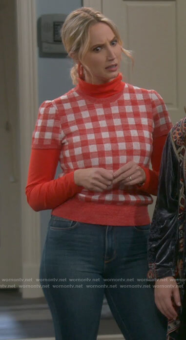 Mandy's red gingham check short sleeve sweater on Last Man Standing