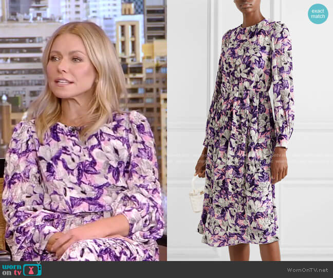 Floral-print Crushed-Velvet Midi Dress by Runway Marc Jacobs worn by Kelly Ripa  on Live with Kelly & Ryan