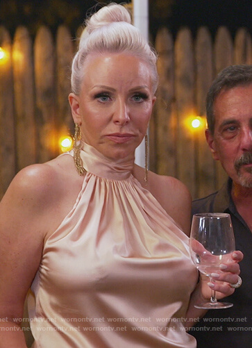 Margaret's pink satin halterneck top on The Real Housewives of New Jersey
