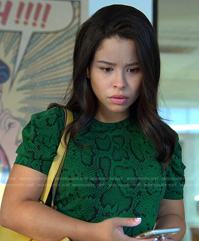 Mariana's green snake print top on Good Trouble
