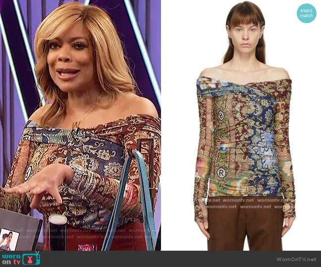 Multicolor Volks Mesh Wrap Blouse by Martine Rose worn by Wendy Williams  on The Wendy Williams Show