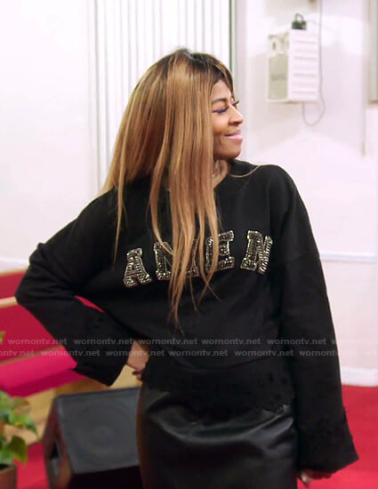 Mary's black studded Amen sweatshirt on The Real Housewives of Salt Lake City