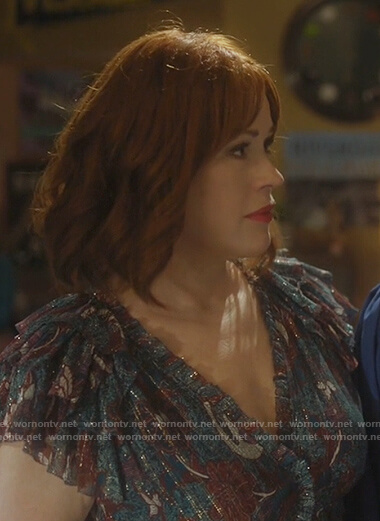 Mary's blue metallic floral dress on Riverdale