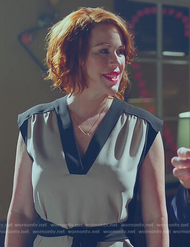 Mary's white contrast tie waist dress on Riverdale