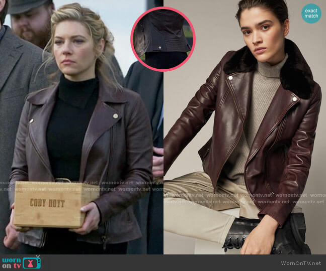 Massimo Dutti Leather Biker Jacket with Detachable Collar worn by Jenny Hoyt (Katheryn Winnick) on Big Sky