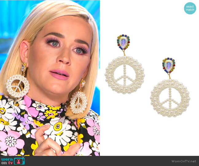 Peace Out Earrings by Mayol Jewelry worn by Katy Perry  on American Idol