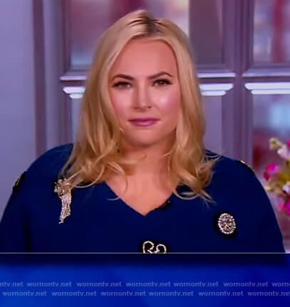 Meghan's blue embellished v-neck sweater on The View