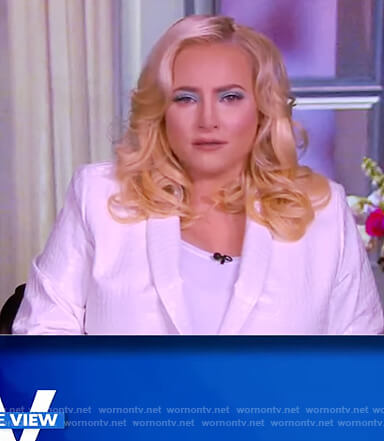 Meghan's white faux leather skin blazer on The View