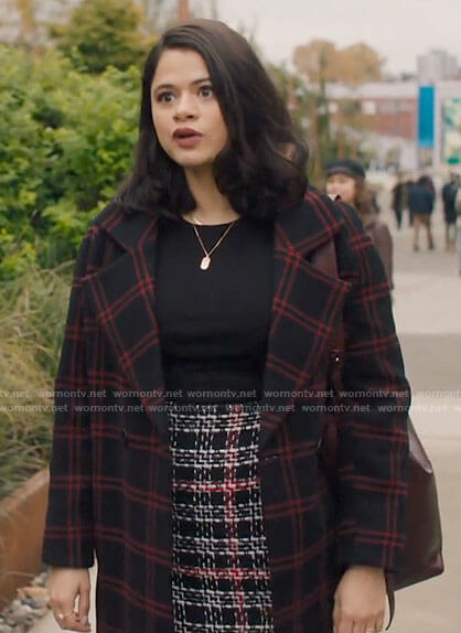 Mel's tweed skirt and checked coat on Charmed