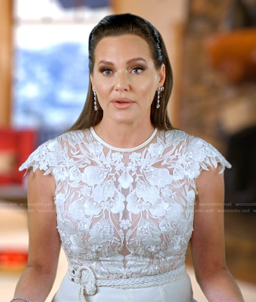 Meredith's white floral lace jumpsuit on The Real Housewives of Salt Lake City