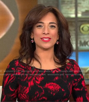 Michelle Miller's black and red printed dress on CBS This Morning