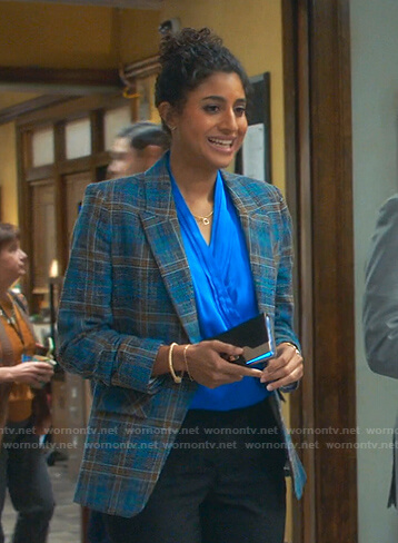 Mikaela's blue plaid blazer on Mr Mayor