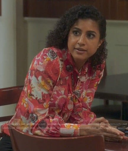 Mikaela's pink floral and button print blouse on Mr Mayor