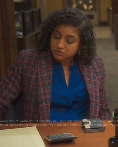 Mikaela's pink tweed blazer and skirt suit on Mr Mayor